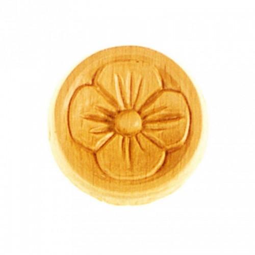 Rosace ronde Ø45 trèfle plein en bois hêtre RR11