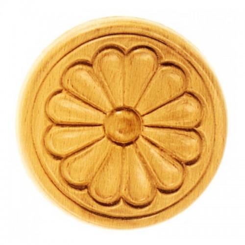 Rosace ronde Ø100 marguerite en bois hêtre RR14