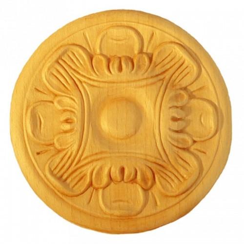 Rosace ronde Ø120  feuille d'acanthe en bois hêtre RR25