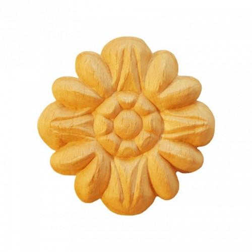 Rosace ronde Ø55 motif fleure en bois hêtre RR29
