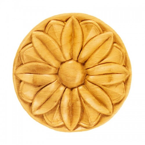 Rosace ronde Ø90 décor fleurie en bois hêtre RR35/A