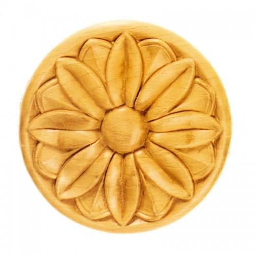 Rosace ronde Ø100 décor fleurie en bois hêtre RR36