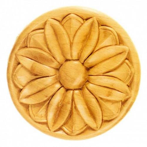 Rosace ronde Ø130 décor fleurie en bois hêtre RR37