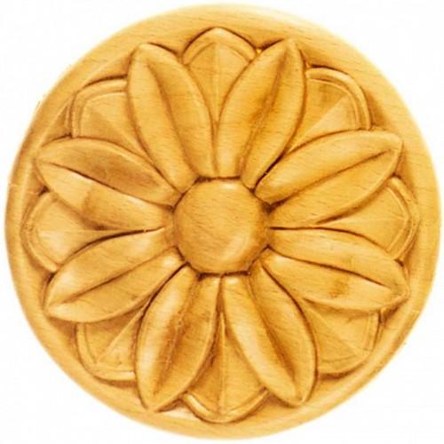 Rosace ronde Ø195 décor fleurie en bois hêtre RR37/B