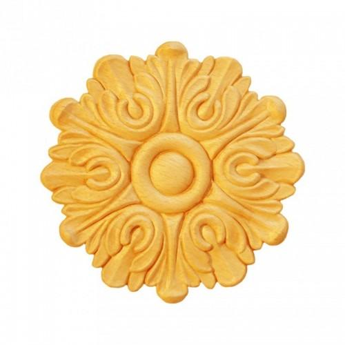 Rosace ronde Ø130  feuille d'acanthel en bois hêtre RR42