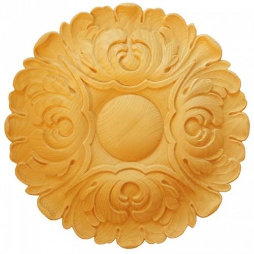 Rosace ronde Ø450 feuille d'acanthe en bois hêtre RR57