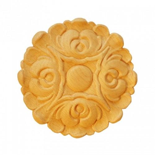 Rosace ronde Ø150 feuille d'acanthe en bois hêtre RR60