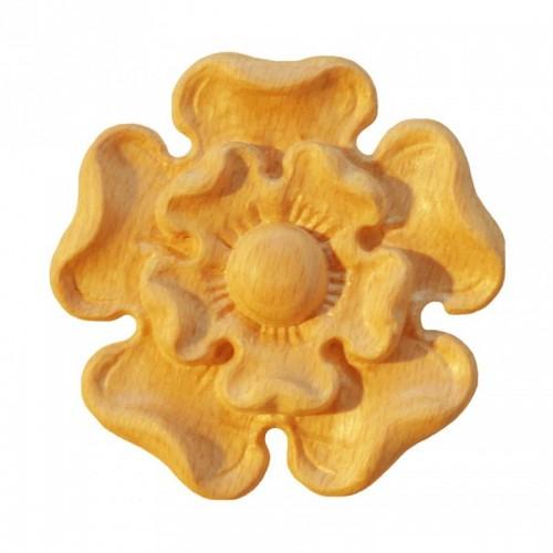 Rosace ronde Ø72 motif fleur en bois hêtre RR85