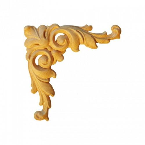 Angle feuille d'acanthe 125x125 décor bois ESN158