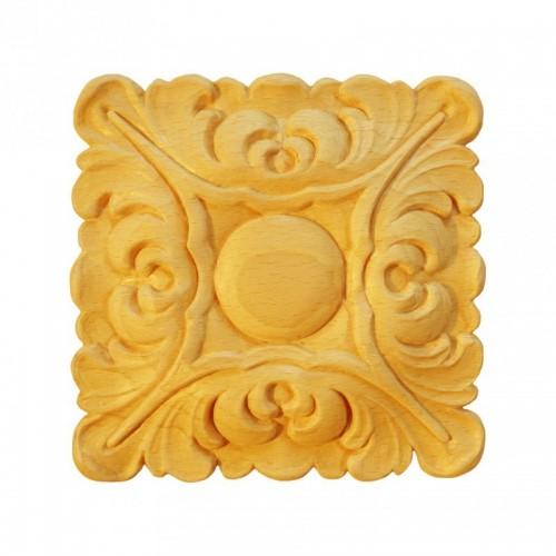 Rosace carrée 125x125 feuille d'acanthe en hêtre RV102