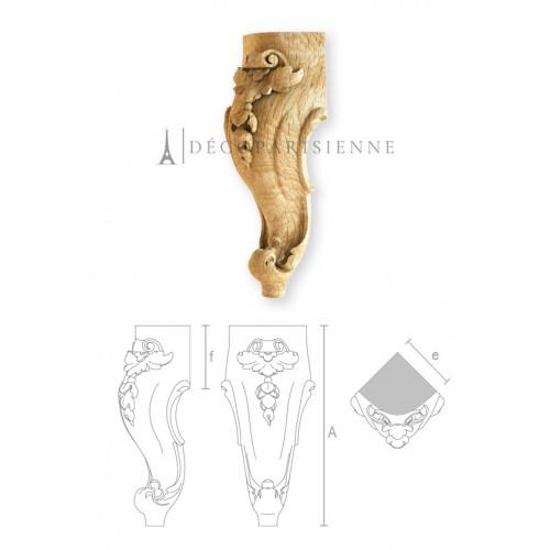 Pied de fauteuil de style en bois brut MN-073